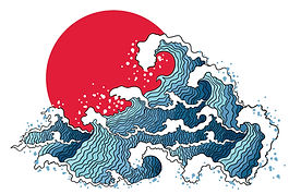 Asian Illustration of Ocean Waves and Su