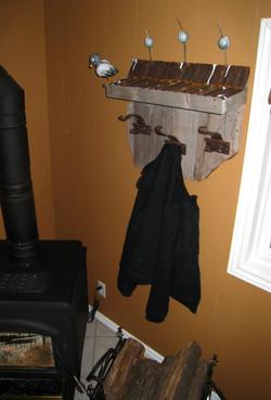 Barn roof coat rack