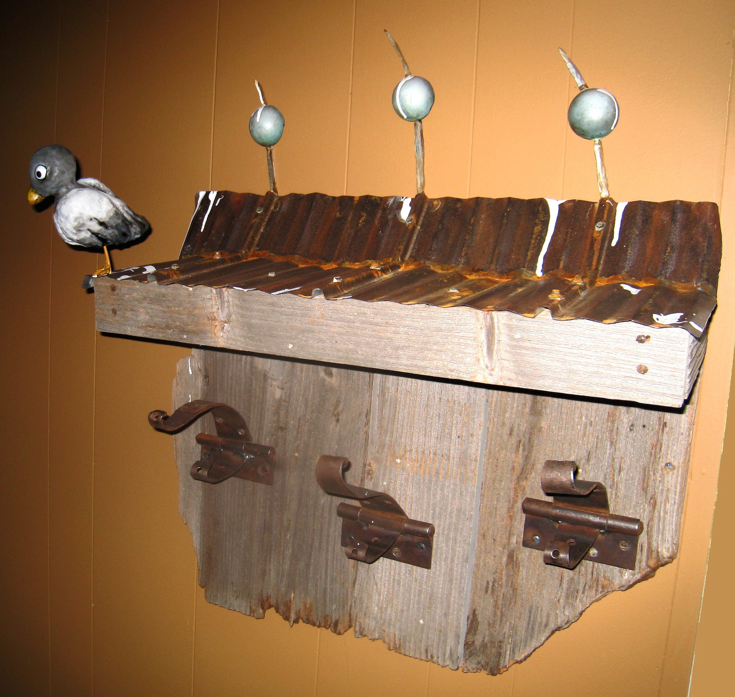 Barn roof coat rack