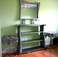 mirror and shelving unit