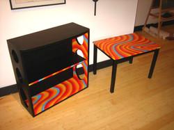 table and bookshelf