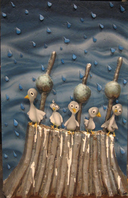 five scared pigeons