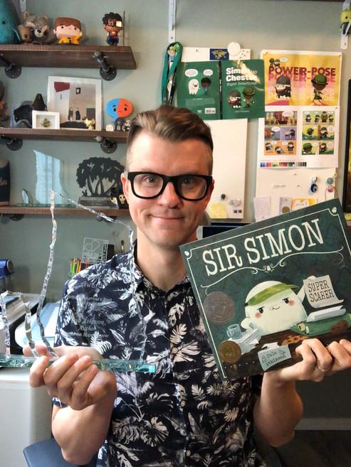 Cale Atkinson with award Sir Simon Super Scarer 2020.JPG