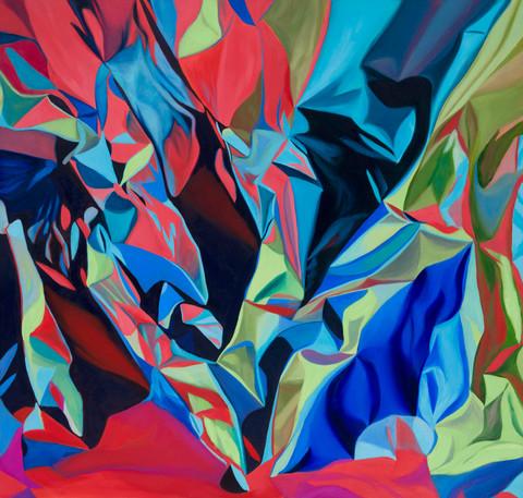 "Strike, 2017, oil on canvas, 32"" x 32"""