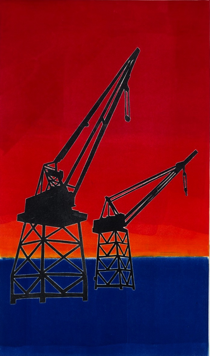 18 Nathan Yergler, Third Street Cranes, Monotype