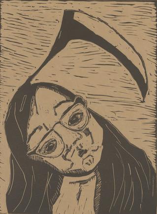 Self-portrait with scythe hair