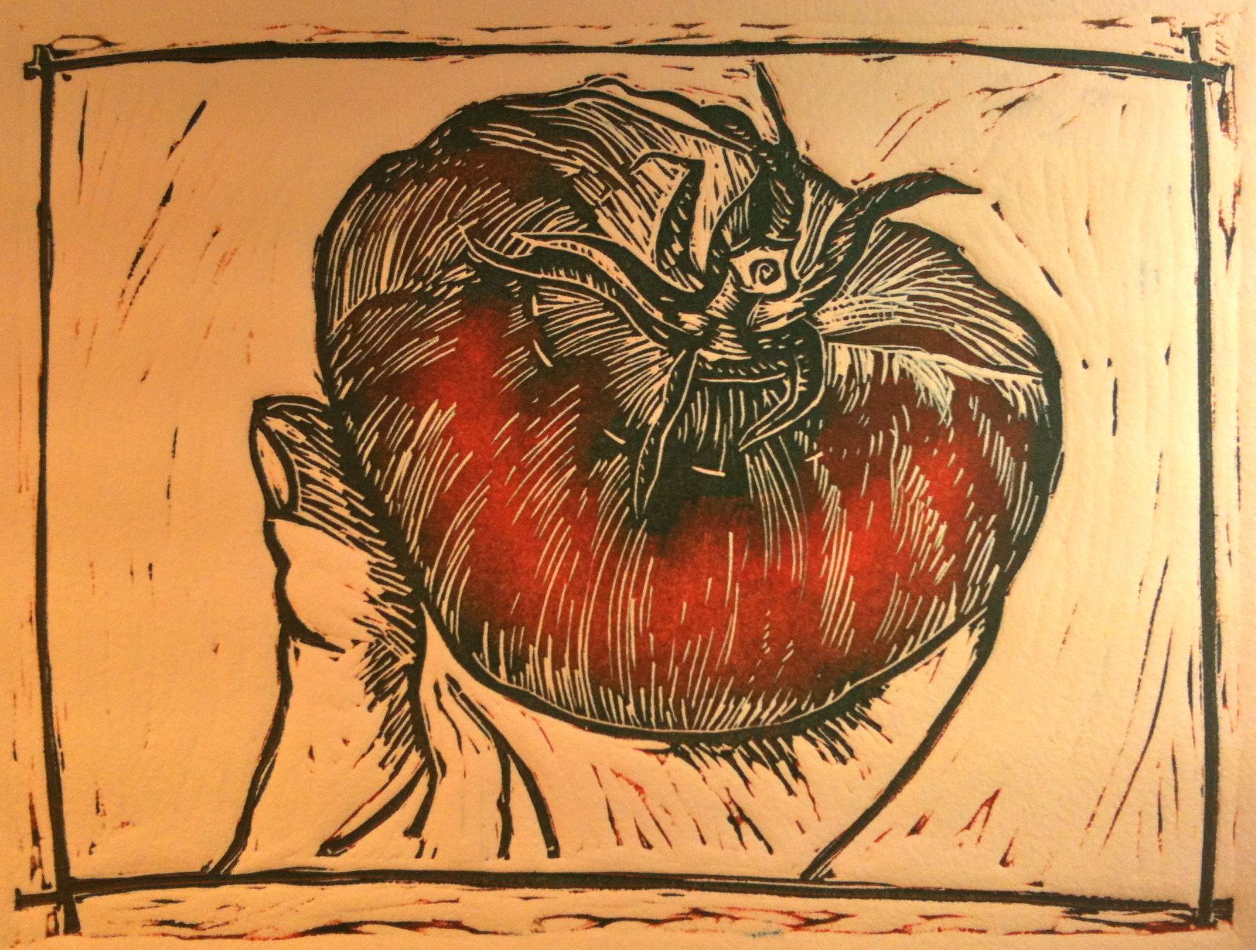 16 Priscilla Read, Tomato, Monprint