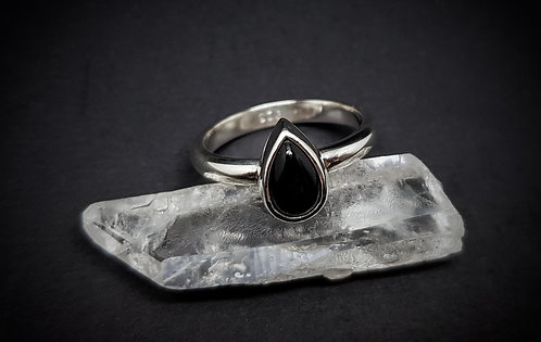 Small Black Onyx Tear 925 Sterling Silver Ring
