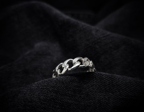 Wide Curb Chain Ring 925 Sterling Silver