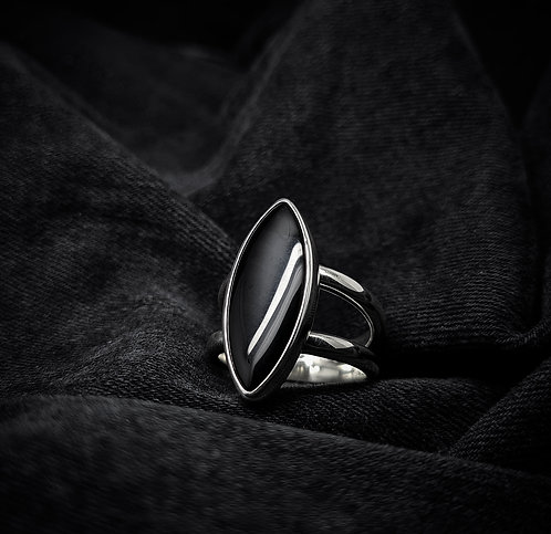 Black Onyx Talon Statement 925 Sterling Silver Ring