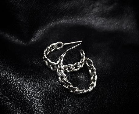 Curb Chain Hoop Stud 925 Sterling Silver Earrings