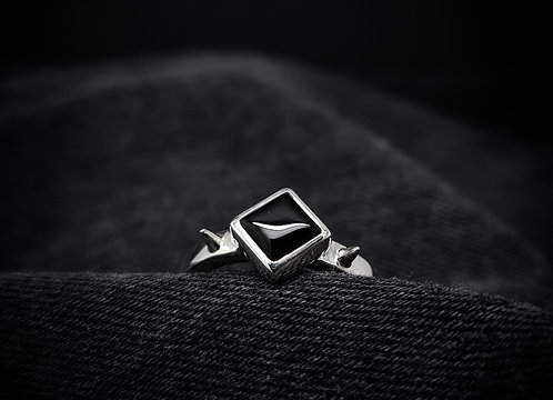"""""""Between Two Thorns"""" Black Onyx Spike 925 Sterling Silver Ring"""
