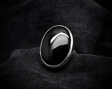 'Eclipse' Black Onyx Statement 925 Sterling Silver Ring