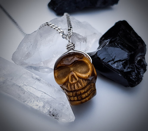 Tigers Eye Skull 925 Silver or Leather Necklace