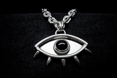 'The Tainted Eye' 925 Sterling Silver and Black Onyx Necklace