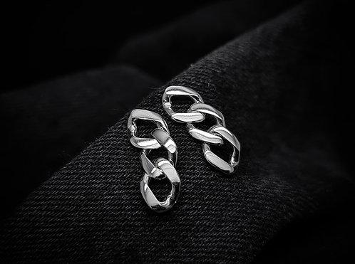 Medium Curb Chain Earrings 925 Sterling Silver