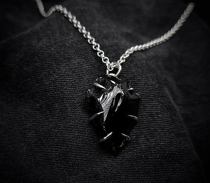 Small Black Obsidian Arrowhead Claw Hugged Necklace 925 Sterling Silver