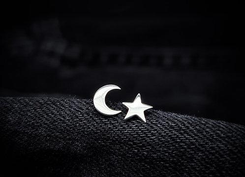 Celestial Mix Star & Moon 925 Sterling Silver Stud Earrings