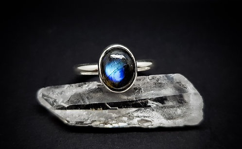 Large Oval Labradorite 925 Sterling Silver Ring