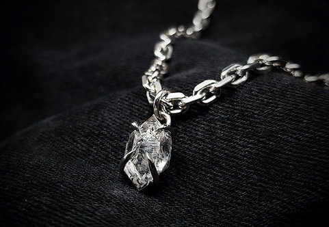 Herkimer Diamond Claw 925 Silver or Leather Necklace