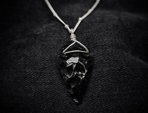 Black Obsidian Arrowhead 925 Silver or Leather Necklace