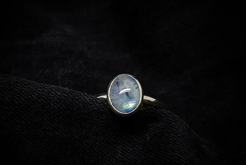 Large Oval Rainbow Moonstone 925 Sterling Silver Ring