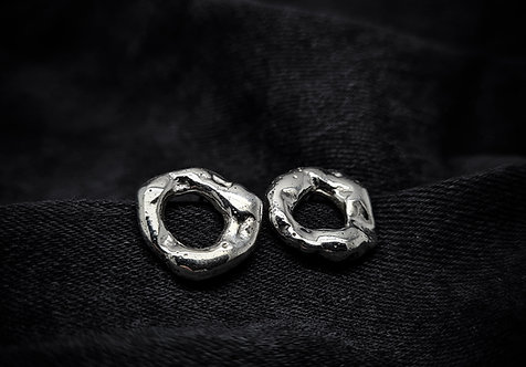 Chunky Molten Open Circle Stud Earrings 925 Sterling Silver