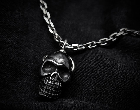 Hematite Skull Heavy 925 Sterling Silver Necklace