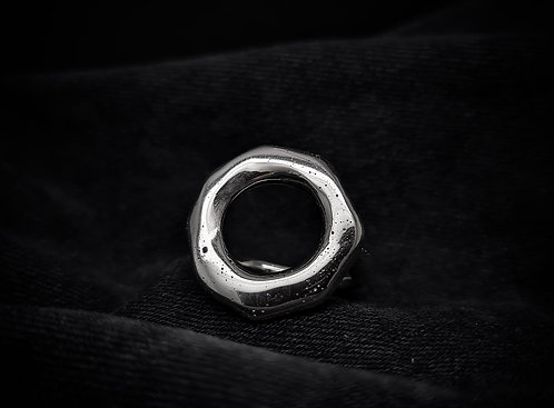 """""""To Hell & Back"""" Chunky Molten Open Circle Ring 925 Sterling Silver"""