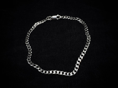 Flat Curb Chain Bracelet 925 Sterling Silver