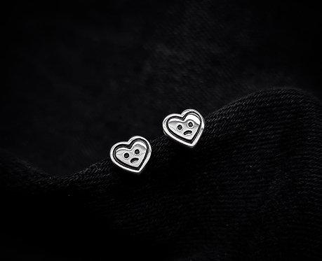 Sad Heart Stud Earrings 925 Sterling Silver