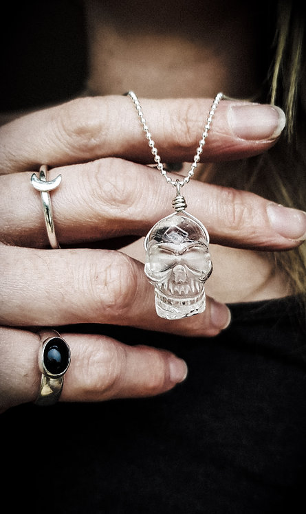 Clear Quartz Skull 925 Silver or Leather Necklace