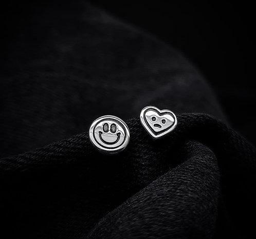 Smiley & Sad Stud Earrings 925 Sterling Silver