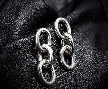 Heavy Link Chain Earrings 925 Sterling Silver