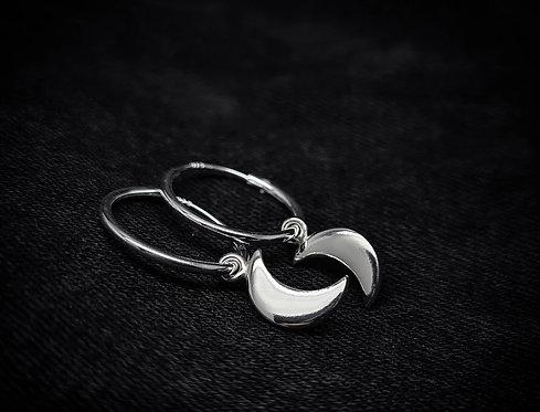 Baby Moon 925 Sterling Silver Hoop Earrings
