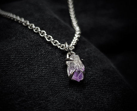 Amethyst Claw 925 Silver or Leather Necklace