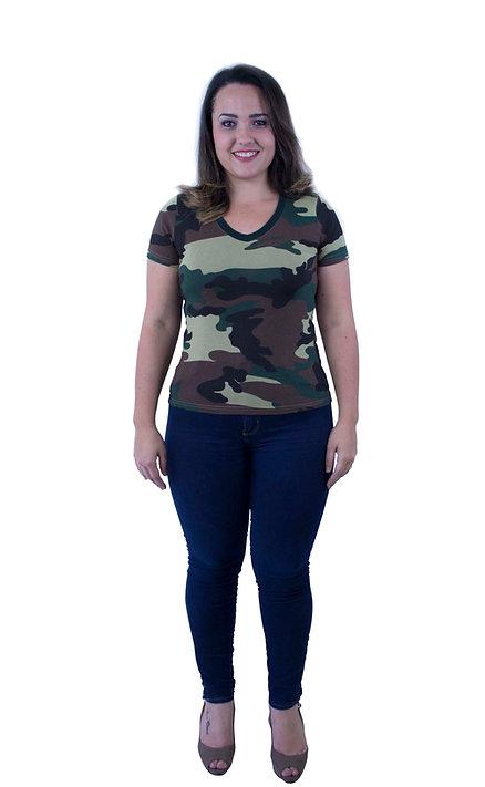 Camiseta Feminina Camuflada