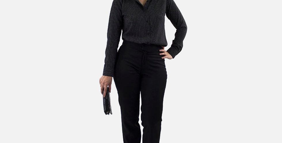 Camisa Feminina de Poá com Colarinho