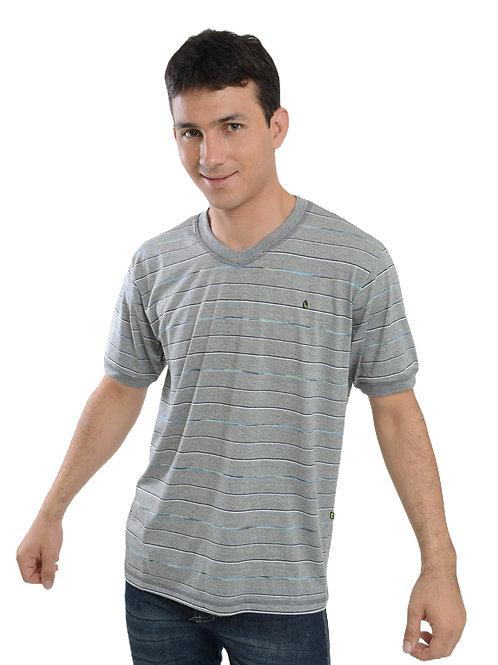 Camiseta  listras Decote V