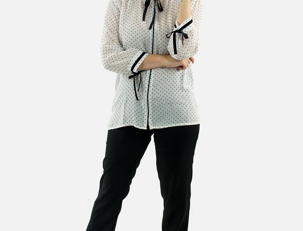 Camisa Feminina Manga Longa Poá
