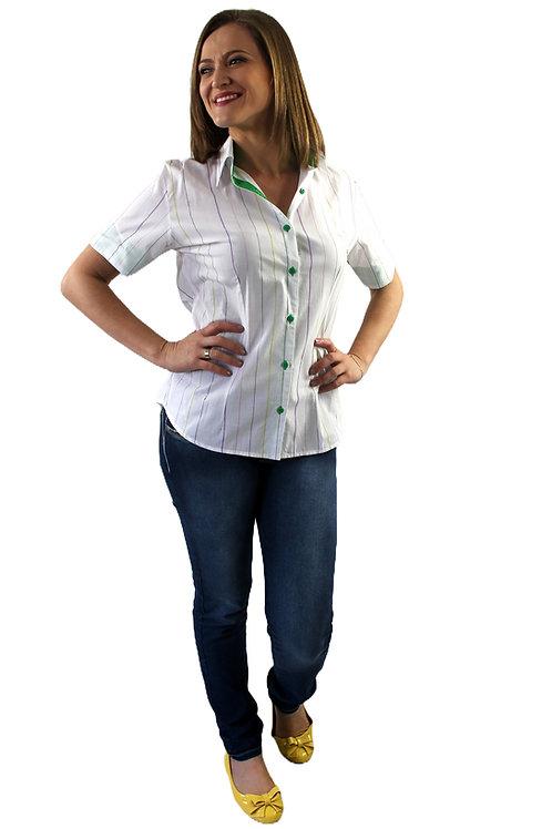 Camisa Feminina Manga Curta Com Listras