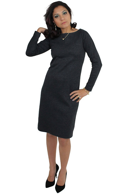 Vestido de Jacquard Manga Longa.