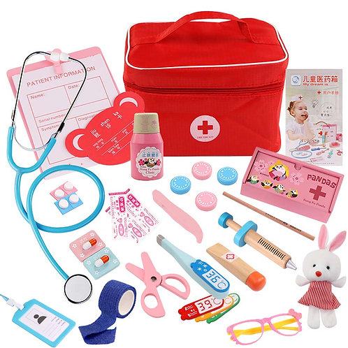 Kids Pretend Play Wood Doctor Toys Red Medical Kit
