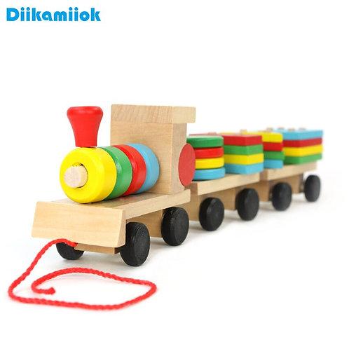 Educational Toys Geometric Shape Wooden Building Blocks