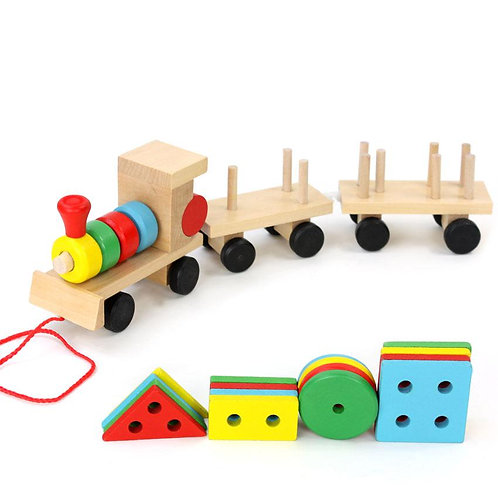 Small Wooden Train and Dragging Three Carriage