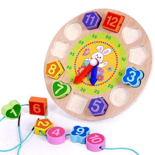 Wooden Toys Baby 3D Puzzle Early Learning Clock