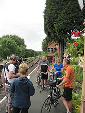 BBC Escape to the Country filming cycling on the Severn Valley railway cyclepath with Wheely Wonderful Cycling