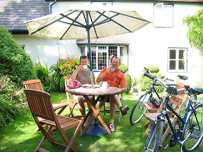 Cycling to a teashop in the Teme Valley with Wheely Wonderful Cycling bike hire