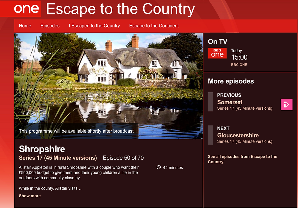 BBC 1 Escape to the Country Series 17 Episode 50 of 70, featuring Cycling in Shropshire