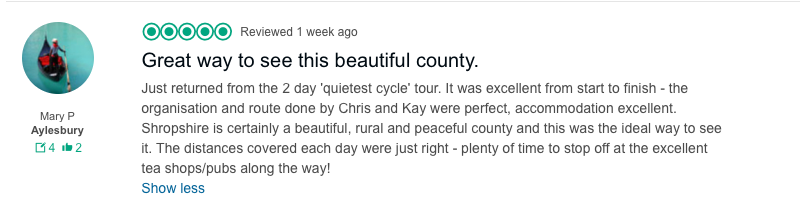 Review of Shropshire cycling holidays